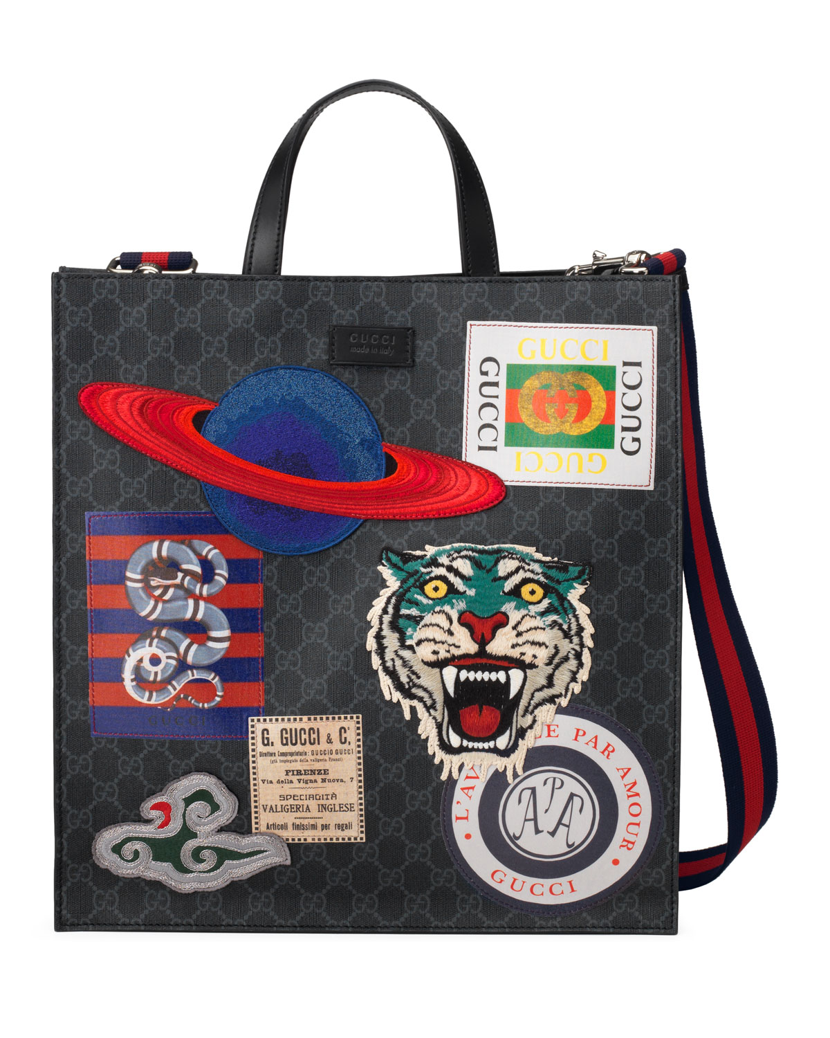 c87ce9e393e1 Gucci Men's GG Supreme Tote Bag with Patches | Neiman Marcus