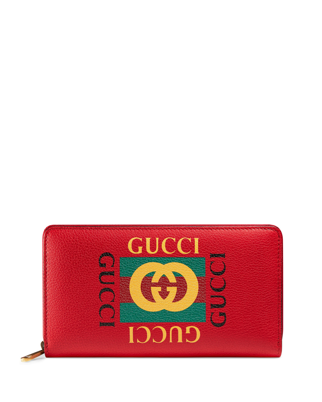 25746256837b94 Gucci Logo Zip-Around Wallet | Neiman Marcus