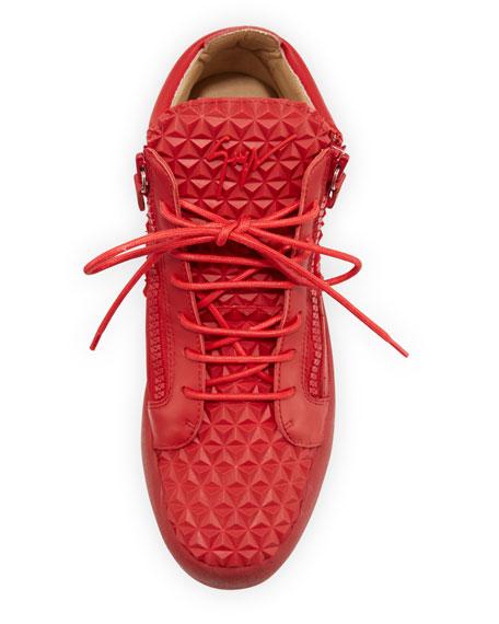 Giuseppe Zanotti Men's Pyramid Leather Mid-Top Sneakers