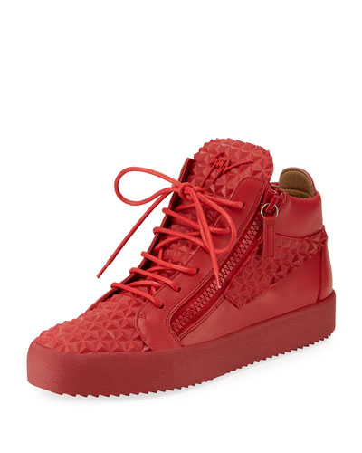 Giuseppe Zanotti Men's Pyramid Leather Mid-Top Sneaker