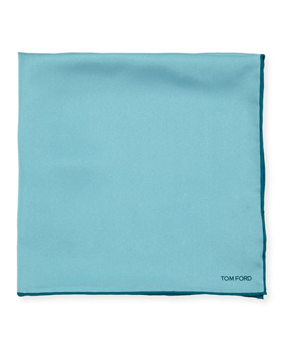 Tonal-Trim Solid Silk Pocket Square