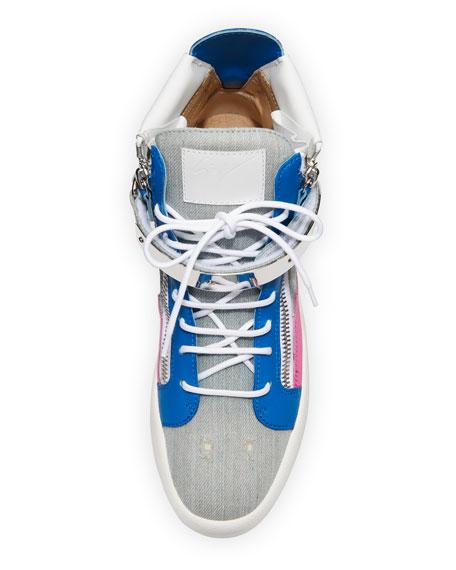 Men's Denim Bar High-Top Sneakers