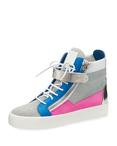 Giuseppe Zanotti Men's Denim Bar High-Top Sneaker