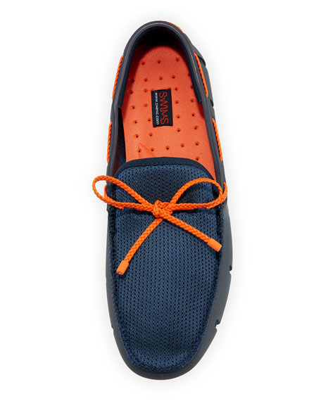 Mesh & Rubber Braided-Lace Boat Shoe, Navy