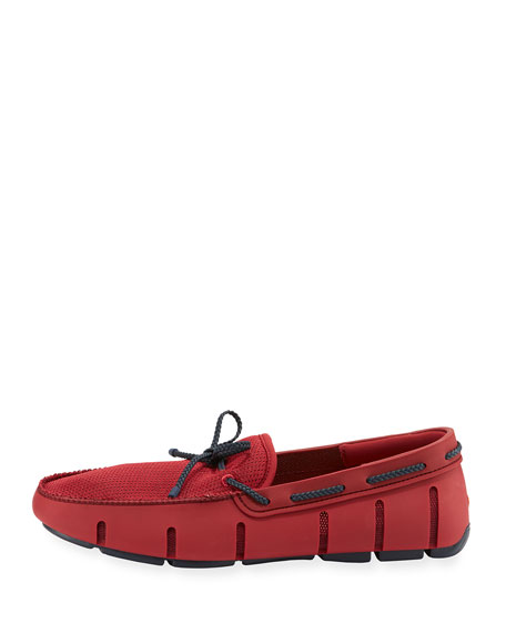Mesh & Rubber Braided-Lace Boat Shoe, Red