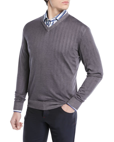 Image 1 of 2: Cashmere-Silk V-Neck Sweater