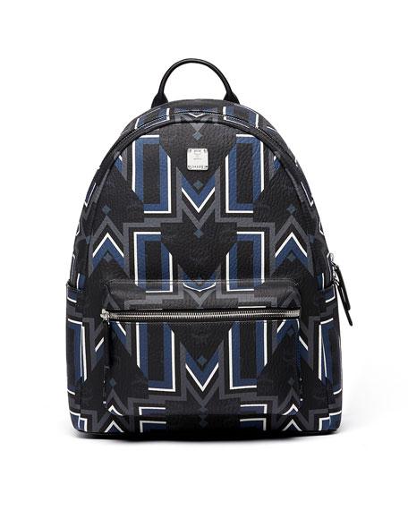 MCM Stark Gunta M Stripe Backpack In Visetos in Bk
