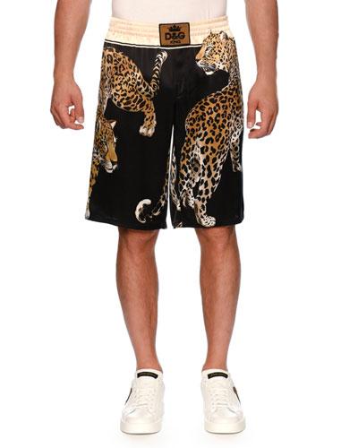 Leopard-Print Silk Boxing Shorts