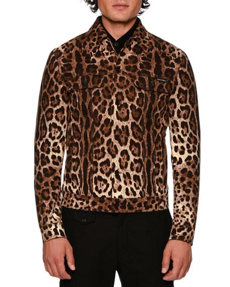 Dolce & Gabbana Leopard-Print Twill Jean Jacket