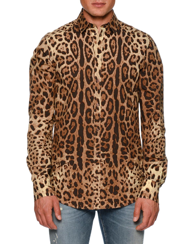851434874461 Dolce & Gabbana Leopard-Print Poplin Shirt   Neiman Marcus