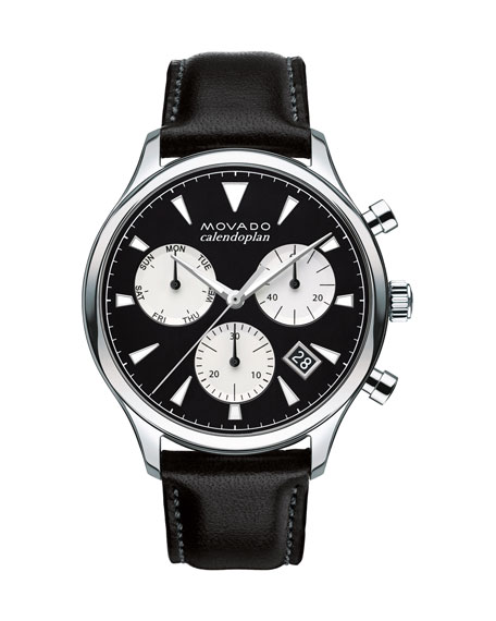 Movado 43mm Heritage Calendoplan Chronograph Watch with Black Leather Strap