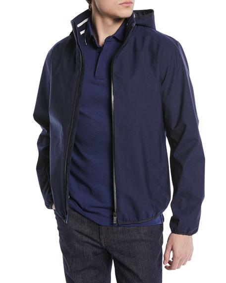 Solid Weave Zip-Front Blouson Jacket