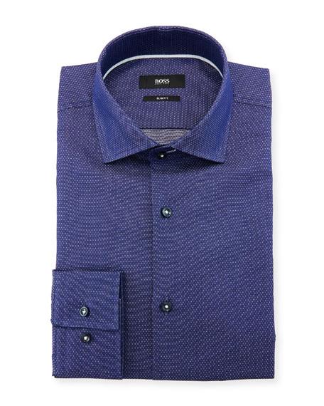 BOSS Men's Slim Fit Diamond Cotton Dress Shirt