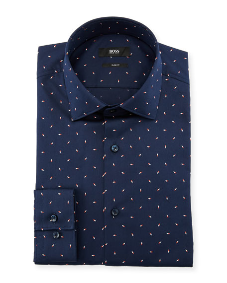 BOSS Men's Slim Fit Diamond Cotton Dress Shirt