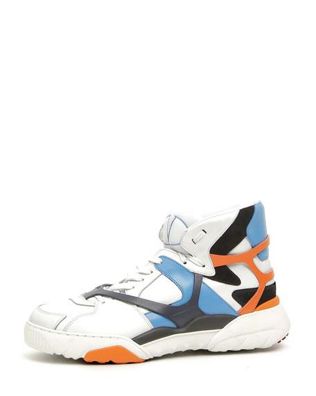 Men's Retro Logo Leather High-Top Sneakers, Blue/Orange