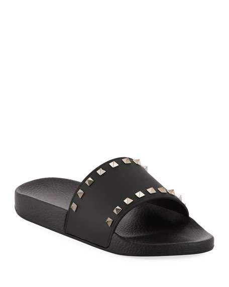 Rockstud-Embellished Rubber Pool Slides, Black