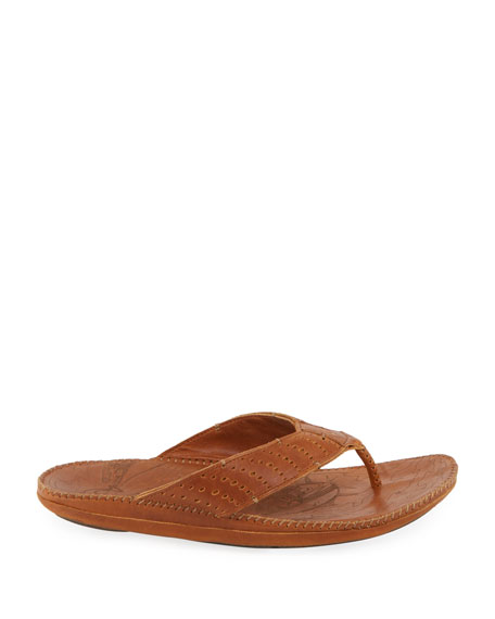 Olukai Men's Hoe Perforated Leather Thong Sandals