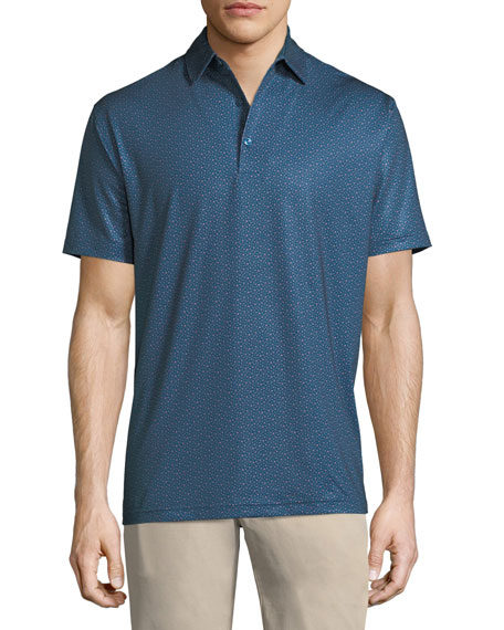 Snow Star-Printed Jersey Polo Shirt