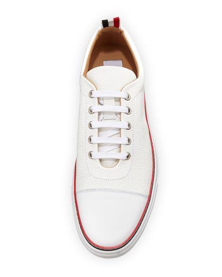 Men's Cap-Toe Striped-Trim Low-Top Leather Sneakers