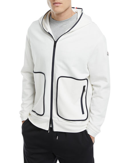 Zip-Front Knit Hoodie