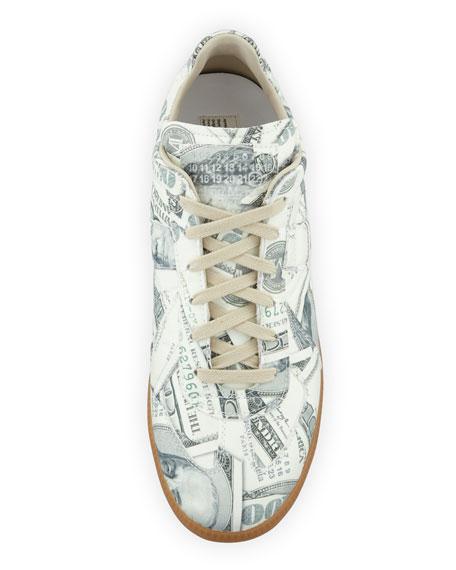 Money-Print Replica Sneaker, Green Pattern
