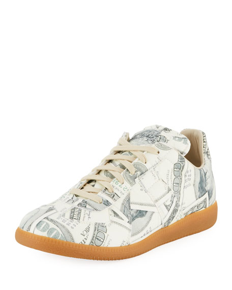 Men's Money-Print Replica Sneakers, Green Pattern