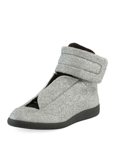 Maison Margiela Glitter Future High-Top Sneaker, Silver
