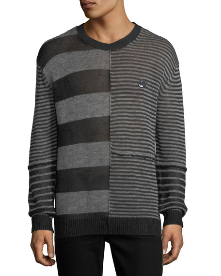 McQ Alexander McQueen Patched-Stripe Linen Sweater
