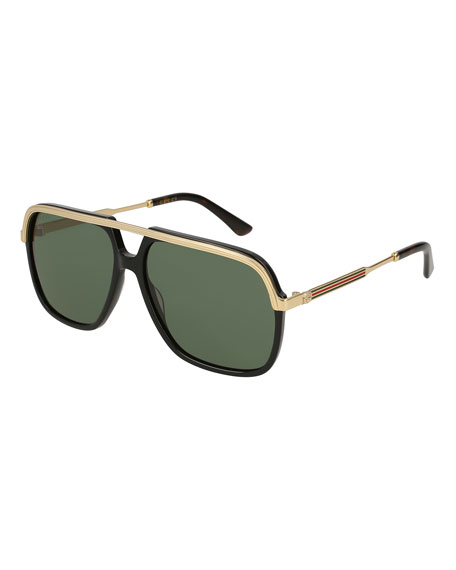 Image 1 of 1: Men's Metal Aviator Sunglasses