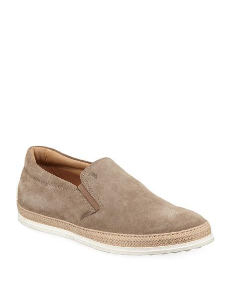 Tod's Suede Espadrille Slip-On Sneaker, Tan