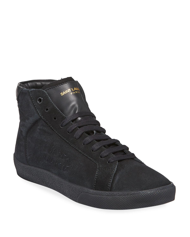 dc23f5c3b56 Saint Laurent SL06 Men s Suede Mid-Top Sneakers