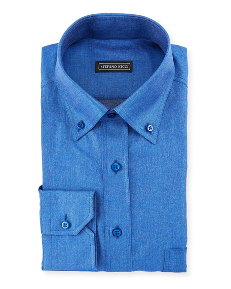 Denim-Weave Dress Shirt