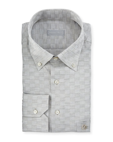 Stefano Ricci Crosshatch-Pattern Cotton Dress Shirt