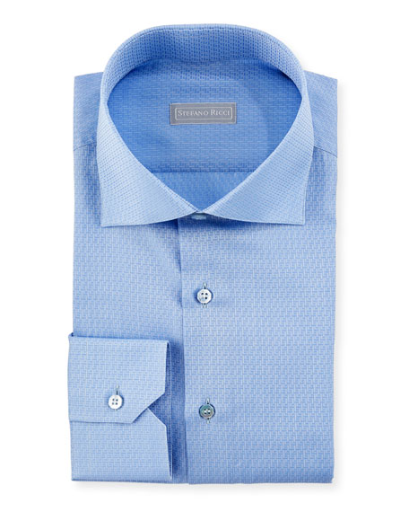 Tonal Pattern Cotton Dress Shirt