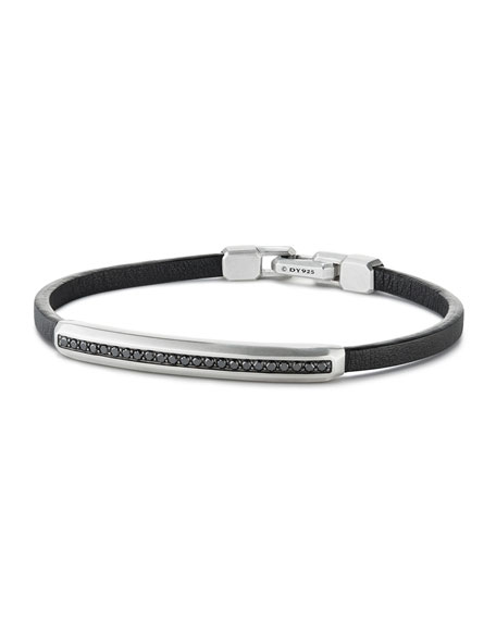 David Yurman Men's Pavé Leather ID Bracelet with