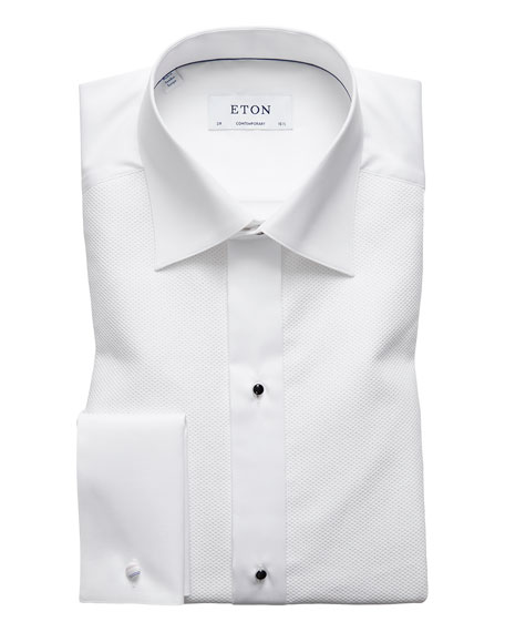 Image 1 of 3: Eton Contemporary-Fit Fancy Metallic-Stripe Formal Shirt, White