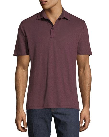 Ermenegildo Zegna Solid Linen Polo Shirt, Brown