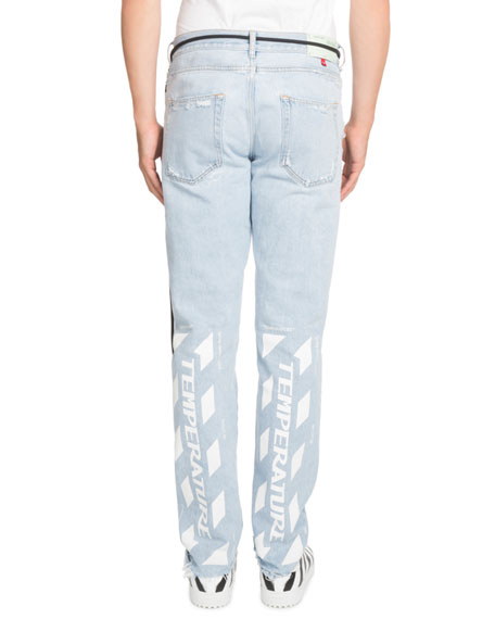 Temperature Slim Bleach-Distressed Jeans