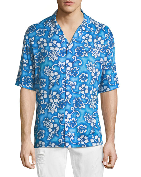 Hibiscus-Print Short-Sleeve Shirt