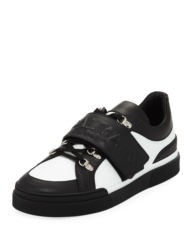 2bb96b20b4c Balmain Men's Tricolor Low-Top Leather Sneakers   Neiman Marcus