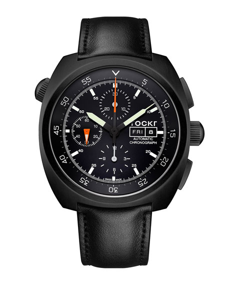 TOCKR WATCHES Air Defender Leather Chronograph Watch, Black