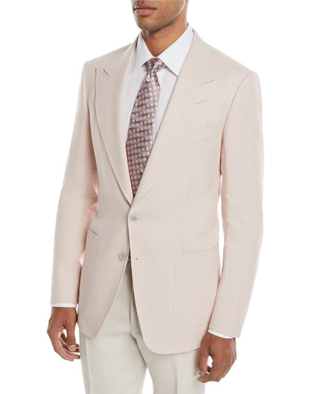 TOM FORD Shelton Peak Patch Two-Button Linen Blazer