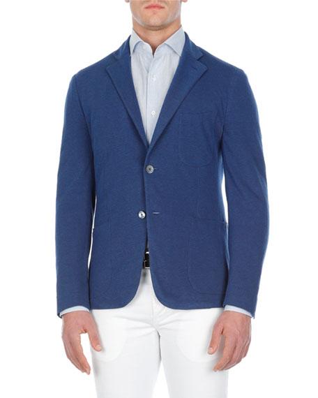 Isaia Solid Cotton Pique Blazer