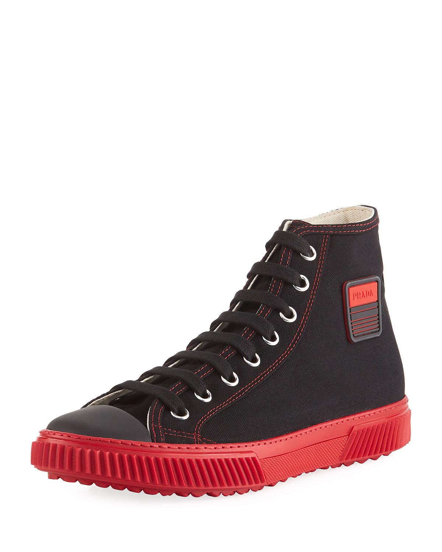 8502f871431 Prada Men s Canapa Canvas High-Top Sneakers
