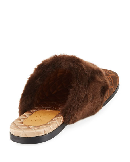 Lawrence GG Suede Fur-Trim Slipper