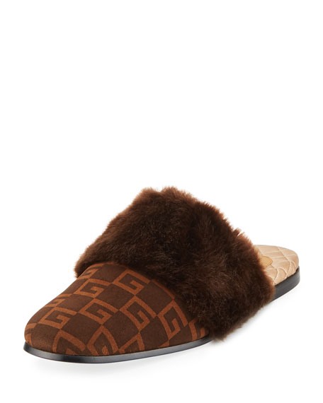 GUCCI Faux-Fur Trimmed And Logo-Print Suede Slippers, Brown/ Sigaro