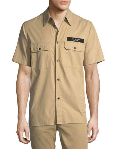 Standard Issue Mechanic Casual Button-Down Shirt, Beige