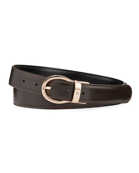 Image 2 of 2: Montblanc Men's Oval-Buckle Reversible Leather Belt
