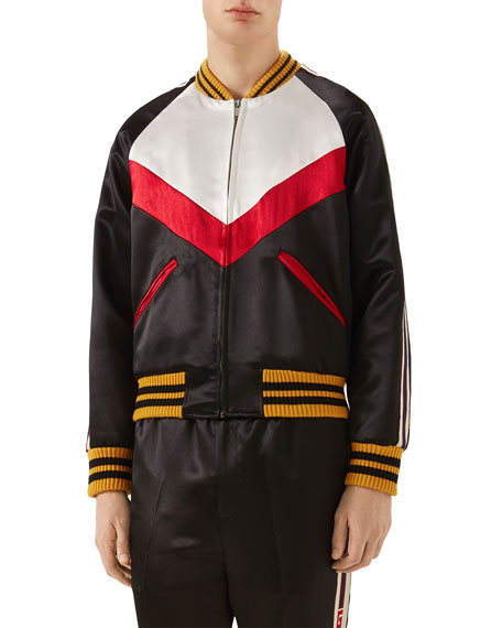 Gucci Colorblock Blouson Satin Jacket