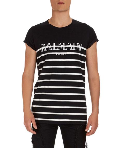 Balmain Striped Logo Graphic T-Shirt